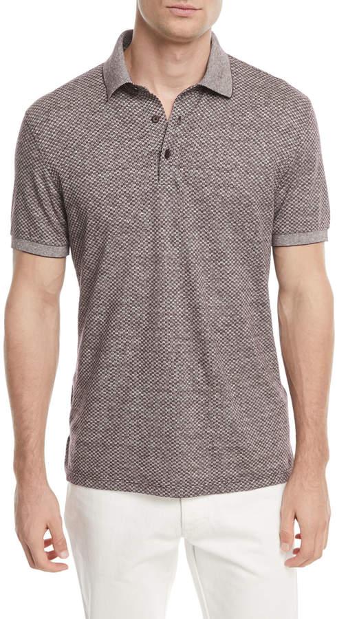 Ermenegildo Zegna Linen-Blend Micro-Design Polo Shirt