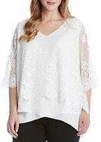 Karen Kane Plus Lace Overlay Asymmetric Hem Top