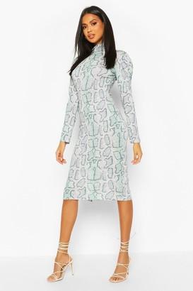 boohoo Snake Print Turtle Neck Midi Dress