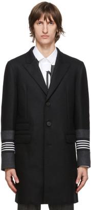 Neil Barrett Black Raw Edge Stripe Coat