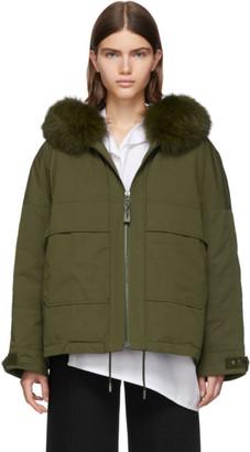 Yves Salomon Army Green Down and Fur Bachette Jacket