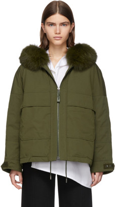 Yves Salomon Army Army Green Down and Fur Bachette Jacket