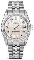 Pre-Owned Rolex Stainless Steel and 18K White Gold Datejust Watch with Mother-of-Pearl Dial and Diamond Bezel, 36mm
