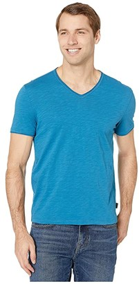 John Varvatos Miles Short Sleeve Slub V-Neck with Cut Raw Edge K3595V4B (Sapphire) Men's Clothing