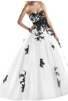 Angel Bride 2015 Sweetheart Lace Appliques Bandage Wedding Dresses Long - US Size- White and Black