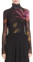 Fuzzi Women's Floral Print Tulle Turtleneck Top
