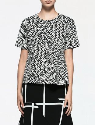 Calvin Klein Platinum Jacquard Zig-Zag Peplum Top