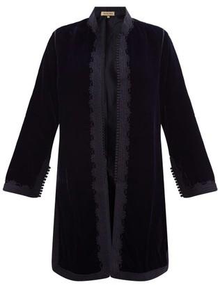 Muzungu Sisters - Fatima Woven-trim Velvet Jacket - Navy