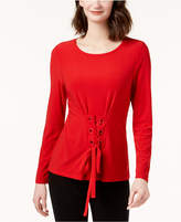 INC International Concepts I.n.c. Corset-Front Top, Created for Macy's