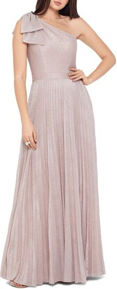 Xscape Evenings Bow One-Shoulder Glitter Gown