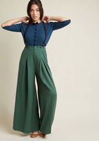 ModCloth Proper Presentation Wide-Leg Pants in Pine in L