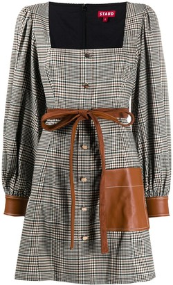 STAUD Checked Tie-Waist Dress