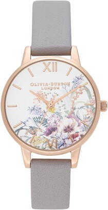Olivia Burton Enchanted Garden Leather Strap Watch, 30mm