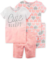 Carter's 4-Pc. Heart Printed Cotton Pajamas Set, Baby Girls