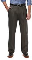 Haggar Mens Premium No-Iron Khaki Stretch Classic-Fit Pleated Expandable Waist Pants