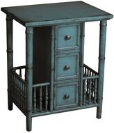 Bed Bath & Beyond Pulaski Casto Faux Bamboo 3-Drawer Side Accent Table in Blue