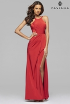 Faviana 7904 Stretch faille satin evening dress with high neck and high leg slit