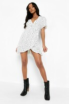 boohoo Petite Saskia Polka Dot Ruffle Wrap Tea Dress