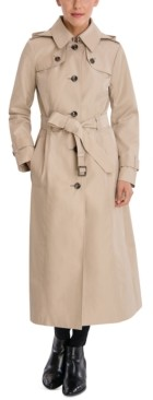 London Fog Single-Breasted Hooded Maxi Trench Coat
