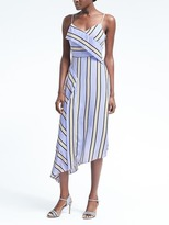 Banana Republic Stripe Strappy Asymmetrical Foldover Dress