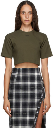 Off-White Khaki Cropped Off T-Shirt