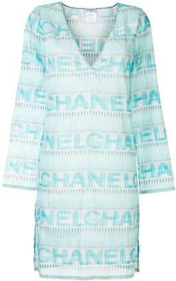 Chanel Pre Owned sheer logo T-shirt dress