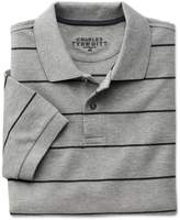 Charles Tyrwhitt Grey and Charcoal Stripe Pique Cotton Polo Size Small