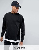 Asos TALL Oversized Sweatshirt WithT-Shirt Hem