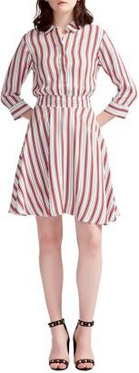 Maje Striped Fit & Flare Shirtdress