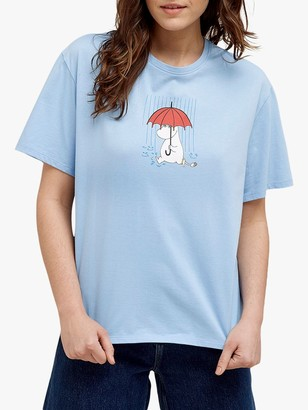People Tree Snorkmaiden Umbrella Moomin Faitrade Cotton Tee, Blue