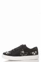 Quiz Black Embellished Lace Up Trainers
