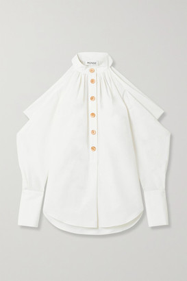 Monse Cold-shoulder Cotton And Linen-blend Top - Cream