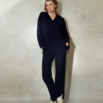 The White Company Stretch Wide-Leg Tailored Trousers, Black, 6