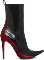 Haider Ackermann Velvet-panel patent-leather heeled ankle boots