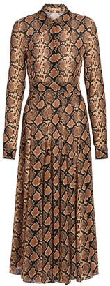 Michael Kors Crushed Snakeskin-Print Silk Shirtdress