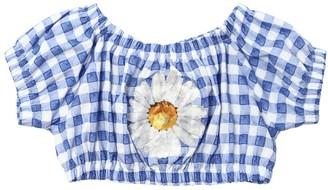 MonnaLisa Cropped Check Cotton Poplin Top