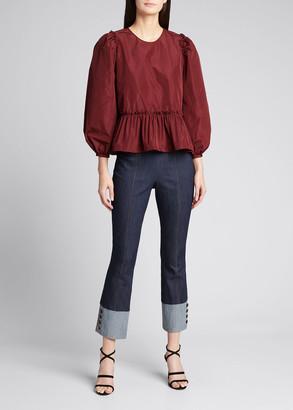 Cinq à Sept Sheena Button-Cuff Cropped Denim Pants