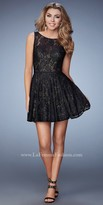 La Femme Deep V-Back Lace Cocktail Dress