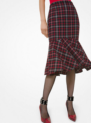 Michael Kors Windowpane Wool Flounce Skirt