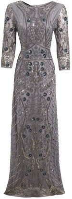 Jywal London GREY EMBELLISHED LONG SLEEVE GOWN