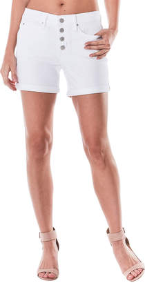Nicole Miller High-Rise Exposed-Button Rolled-Cuff Stretch-Denim Shorts