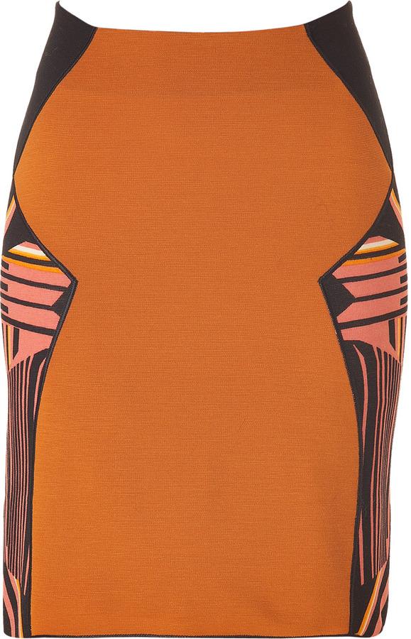 Missoni Cinnamon and Black Geometric Print Wool Skirt