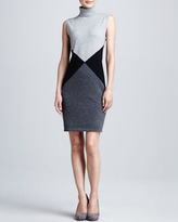 Neiman Marcus Geometric Printed Cashmere Dress