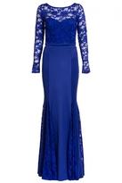 Quiz Royal Blue Lace Long Sleeve Fishtail Maxi Dress
