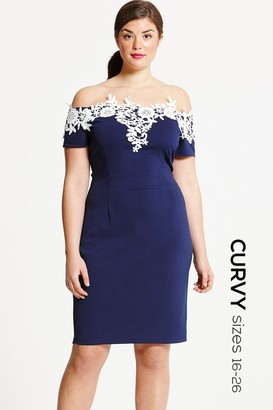 Little Mistress Curvy Paper Dolls Curvy Navy and Cream Applique Dress