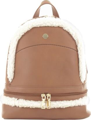 JAM Womens Leyla Backpack PU Faux Leather Ladies Large Fashion Rucksack Bag Handbag Adjustable Straps Zip Closure Faux Sheepskin Trim - Chestnut Brown