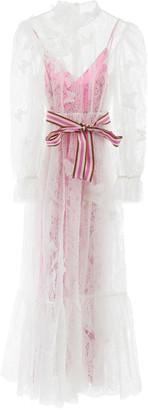 Zimmermann LONG LACE DRESS 1 White, Fuchsia Cotton