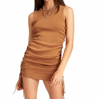 YCYU Women Summer Dress Sleeveless Sexy Club Party Dress Cotton Elegant Casual Stretchy Tank Bodycon Dress (Coffee S)