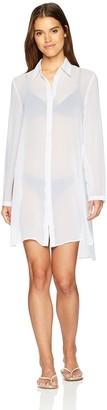 Carmen Marc Valvo Women's Long Sleeve Shirt Swimsuit Cover Up