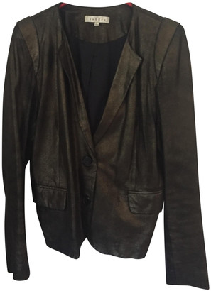 Sandro Gold Leather Jacket for Women